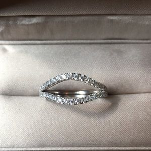 Jewelry - 2pcs Solid 925 Silver curve wedding band Pave Ring